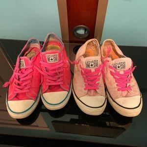 2 pair Pink CONVERSE One Star Size 10 RARE Chucks